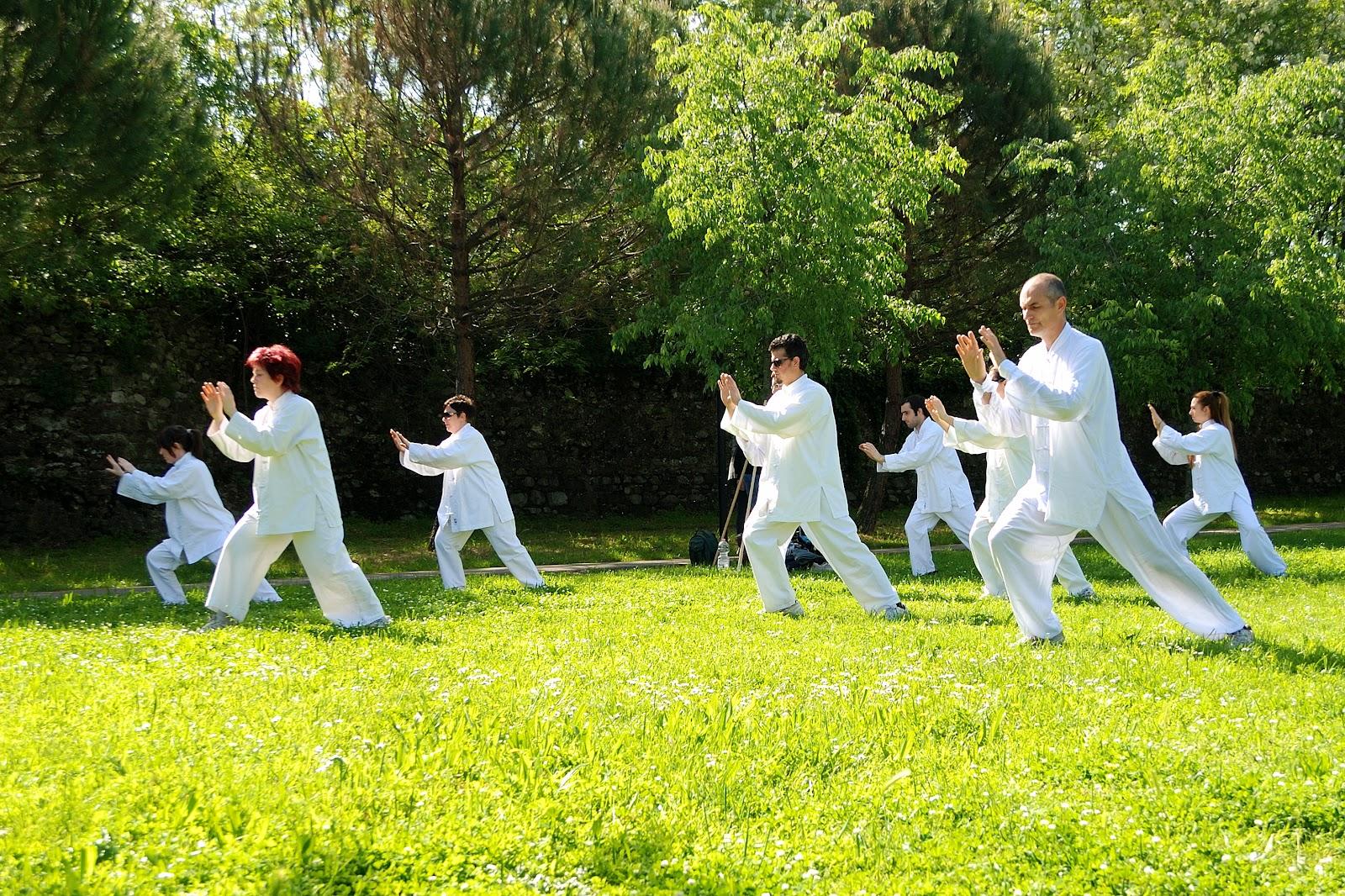 Taï Chi : les participants en tenue blanche s'entraînent dehors